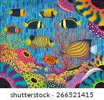 angelfish family in coral reef...   Shutterstock . vector #266521415