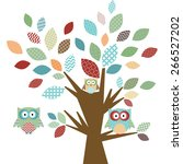 cute owl and tree | Shutterstock .eps vector #266527202