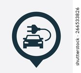electro car icon map pin on... | Shutterstock .eps vector #266533826