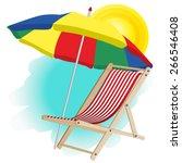 beach umbrella and chaise longue | Shutterstock .eps vector #266546408