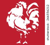 Vintage White Rooster On Red...