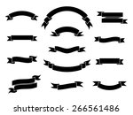 set of simple monochrome ribbon ... | Shutterstock .eps vector #266561486