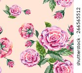 rose and button  watercolor ... | Shutterstock . vector #266565512