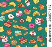 seamless baked sweet food... | Shutterstock . vector #266574542