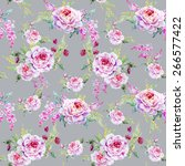 rose  watercolor  flowers ... | Shutterstock . vector #266577422