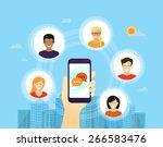 human hand holds smartphone... | Shutterstock .eps vector #266583476