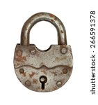 The Old Big Padlock Isolated O...