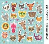 Sticker Set Of Funny Animals...