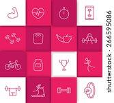 16 line white fitness  gym ... | Shutterstock .eps vector #266595086