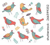 cute colorful birds collection... | Shutterstock .eps vector #266599352