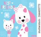 Stock vector cute best friends cat and dog vector illustration 266605772