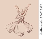 whirling dervish dancing is one ... | Shutterstock .eps vector #266611592
