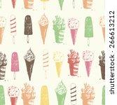 hand drawn ice cream seamless... | Shutterstock .eps vector #266613212