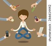 businesswoman doing yoga to... | Shutterstock .eps vector #266614442