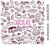 set of various doodles  hand... | Shutterstock .eps vector #266618258