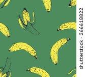 hand drawn banana seamless... | Shutterstock .eps vector #266618822