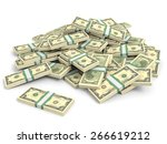 money heap on white background. ... | Shutterstock . vector #266619212