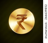 indian rupee gold coin with... | Shutterstock .eps vector #266639852