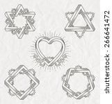 Tattoo style line art symbols with impossible shape with thorns branches - vector set