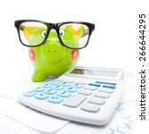 stock market charts with piggy...   Shutterstock . vector #266644295