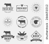 Vector Set Of Premium Beef...