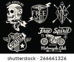 set of vintage motorcycle... | Shutterstock .eps vector #266661326