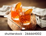 two glasses of cocktail with... | Shutterstock . vector #266664002