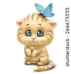 Stock photo kitten with butterfly 266675555