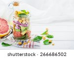 fresh spring salad of... | Shutterstock . vector #266686502