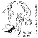 rough pencil figure sketches of ... | Shutterstock .eps vector #266696402