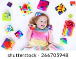 happy laughing little girl ... | Shutterstock . vector #266705948