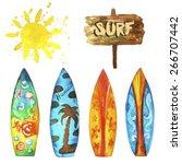 surf set   Shutterstock .eps vector #266707442