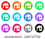 house colorful vector flat icon ... | Shutterstock .eps vector #266717732