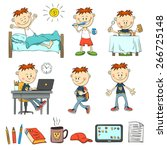 boy during the day. ordinary... | Shutterstock .eps vector #266725148