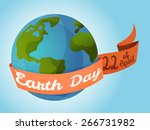 earth day  planet with ribbon... | Shutterstock .eps vector #266731982