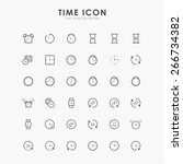 36 time and clock line icons | Shutterstock .eps vector #266734382