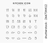 36 kitchen accessories line... | Shutterstock .eps vector #266734412