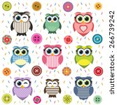 background with cute textured... | Shutterstock .eps vector #266739242