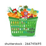 shopping basket with food... | Shutterstock .eps vector #266745695