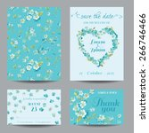 invitation or greeting card set ... | Shutterstock .eps vector #266746466