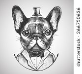 french bulldog in a tuxedo.... | Shutterstock .eps vector #266750636