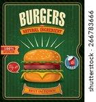 vintage burgers poster design | Shutterstock .eps vector #266783666