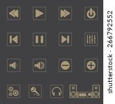 music icons for app with gray... | Shutterstock .eps vector #266792552