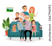 family on sofa. father and... | Shutterstock .eps vector #266796092