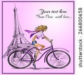 fashion girl on the bike hand... | Shutterstock .eps vector #266800658