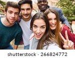 group of multi ethnic young... | Shutterstock . vector #266824772