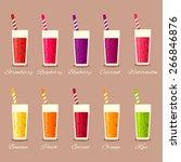 collection of ten healthy fruit ... | Shutterstock .eps vector #266846876