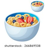 cold cereal isolated on white... | Shutterstock .eps vector #266869538