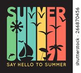 summer typography with beach... | Shutterstock .eps vector #266870456