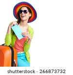 portrait of female tourist with ... | Shutterstock . vector #266873732